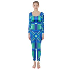 Grid Geometric Pattern Colorful Long Sleeve Catsuit