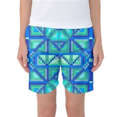 Grid Geometric Pattern Colorful Women s Basketball Shorts