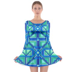Grid Geometric Pattern Colorful Long Sleeve Skater Dress