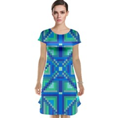 Grid Geometric Pattern Colorful Cap Sleeve Nightdress