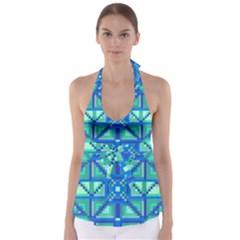 Grid Geometric Pattern Colorful Babydoll Tankini Top