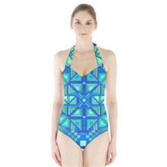 Grid Geometric Pattern Colorful Halter Swimsuit