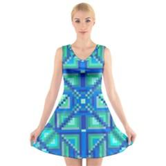 Grid Geometric Pattern Colorful V-Neck Sleeveless Skater Dress