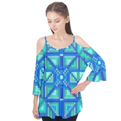 Grid Geometric Pattern Colorful Flutter Tees