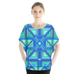 Grid Geometric Pattern Colorful Blouse