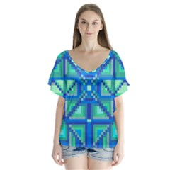 Grid Geometric Pattern Colorful Flutter Sleeve Top