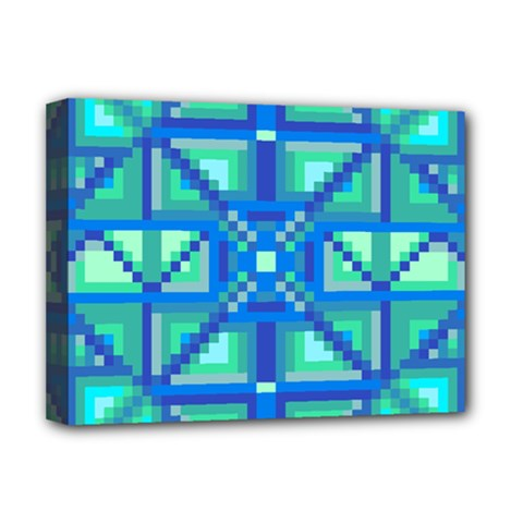 Grid Geometric Pattern Colorful Deluxe Canvas 16  X 12