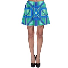Grid Geometric Pattern Colorful Skater Skirt