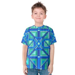 Grid Geometric Pattern Colorful Kids  Cotton Tee