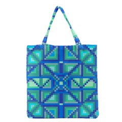 Grid Geometric Pattern Colorful Grocery Tote Bag