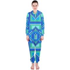Grid Geometric Pattern Colorful Hooded Jumpsuit (ladies)