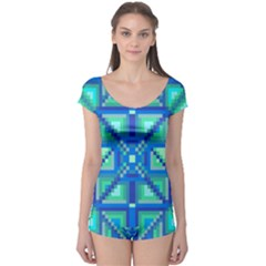 Grid Geometric Pattern Colorful Boyleg Leotard