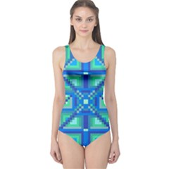 Grid Geometric Pattern Colorful One Piece Swimsuit