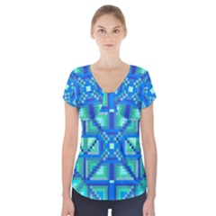 Grid Geometric Pattern Colorful Short Sleeve Front Detail Top
