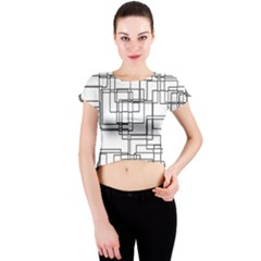 Structure Pattern Network Crew Neck Crop Top