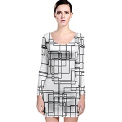 Structure Pattern Network Long Sleeve Bodycon Dress