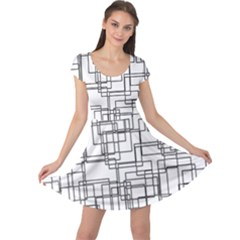 Structure Pattern Network Cap Sleeve Dresses
