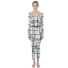 Structure Pattern Network Long Sleeve Catsuit