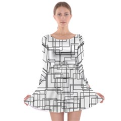 Structure Pattern Network Long Sleeve Skater Dress