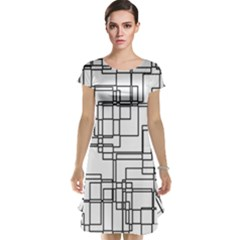 Structure Pattern Network Cap Sleeve Nightdress
