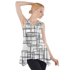 Structure Pattern Network Side Drop Tank Tunic