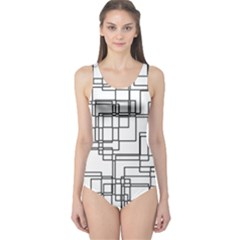 Structure Pattern Network One Piece Swimsuit