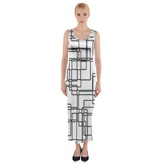 Structure Pattern Network Fitted Maxi Dress