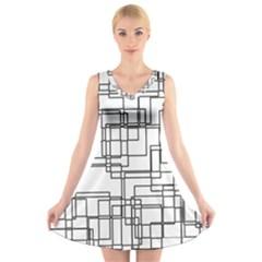 Structure Pattern Network V Neck Sleeveless Skater Dress