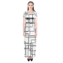 Structure Pattern Network Short Sleeve Maxi Dress