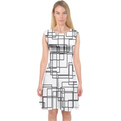 Structure Pattern Network Capsleeve Midi Dress