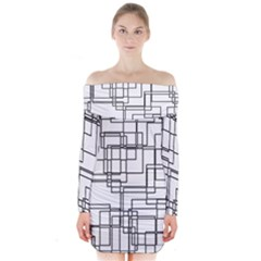 Structure Pattern Network Long Sleeve Off Shoulder Dress