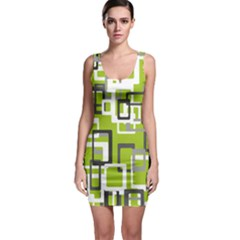 Pattern Abstract Form Four Corner Sleeveless Bodycon Dress