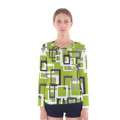 Pattern Abstract Form Four Corner Women s Long Sleeve Tee