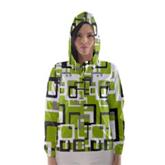 Pattern Abstract Form Four Corner Hooded Wind Breaker (women)