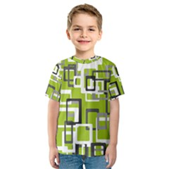 Pattern Abstract Form Four Corner Kids  Sport Mesh Tee