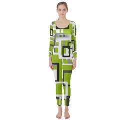 Pattern Abstract Form Four Corner Long Sleeve Catsuit