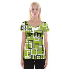 Pattern Abstract Form Four Corner Women s Cap Sleeve Top