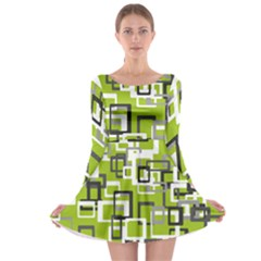 Pattern Abstract Form Four Corner Long Sleeve Skater Dress