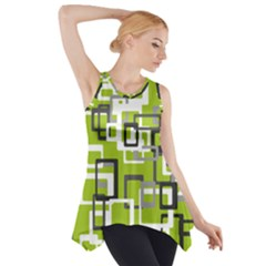 Pattern Abstract Form Four Corner Side Drop Tank Tunic