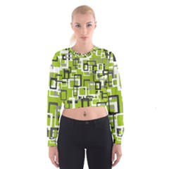 Pattern Abstract Form Four Corner Cropped Sweatshirt