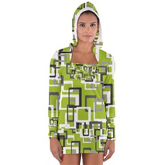 Pattern Abstract Form Four Corner Women s Long Sleeve Hooded T-shirt