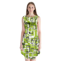 Pattern Abstract Form Four Corner Sleeveless Chiffon Dress