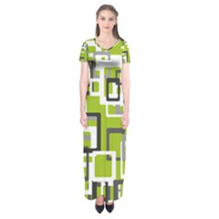 Pattern Abstract Form Four Corner Short Sleeve Maxi Dress