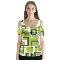 Pattern Abstract Form Four Corner Butterfly Sleeve Cutout Tee