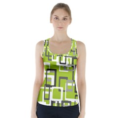 Pattern Abstract Form Four Corner Racer Back Sports Top
