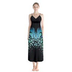 Blue Feathered Chiffon Maxi Dress