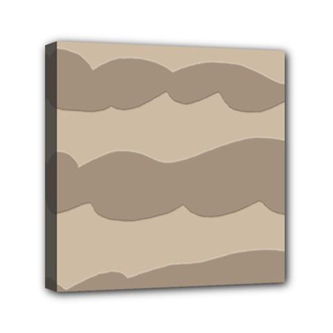Pattern Wave Beige Brown Mini Canvas 6  X 6