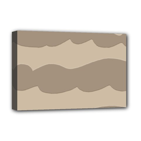 Pattern Wave Beige Brown Deluxe Canvas 18  x 12