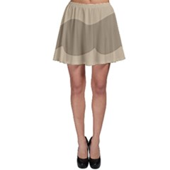 Pattern Wave Beige Brown Skater Skirt