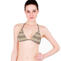 Pattern Wave Beige Brown Bikini Top
